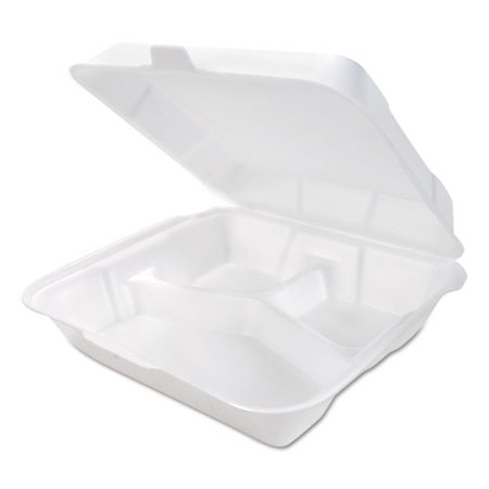 Genpak Snap-it Hinged Carryout Container Foam 3-Compartment Medium White 200/CT - (Medium Hinged Container)