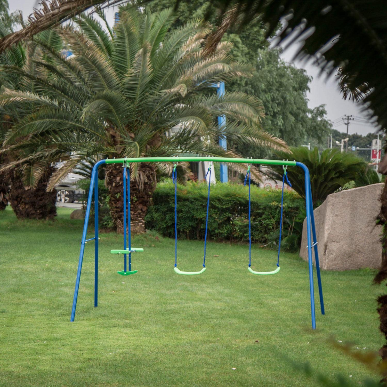 Kinbor 3 in 1 Outdoor Fun Swing Set with Two Swings ...