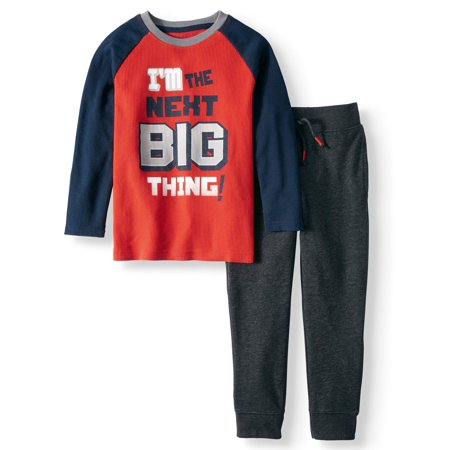 Long Sleeve Thermal Graphic Raglan T-Shirt & French Terry Jogger, 2pc Outfit Set (Little Boys & Big Boys)