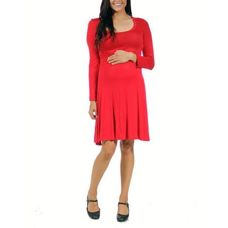 24/7 Comfort Apparel Women's Long-sleeve Maternity Plus Dress