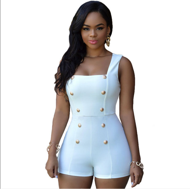 Back Zipper Women Skinny Sleeveless Jumpsuit Sexy Rompers Shorts with Buttons