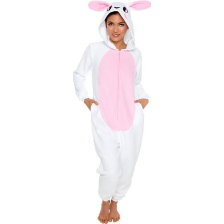 Silver Lilly Adult Slim Fit One Piece Cosplay Bunny Animal Pajamas (Bunny Pajamas)