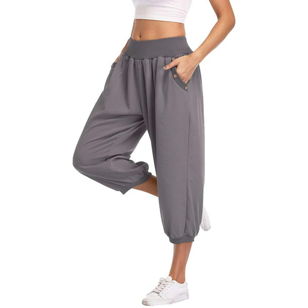 Dilgul Dilgul Women S Harem Pants Loose Fit Capri Pants Jogger Workout Yoga Pants With Pockets Gray M Walmart Com Walmart Com