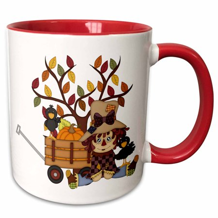 3dRose Cute Sitting Fall Scarecrow With Wagon Of Pumpkins And An Autumn Tree - Two Tone Red Mug, 11-ounce