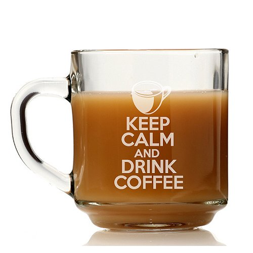 Chloe and Madison Keep Calm and Drink Coffee Glass Coffee Mug (Set of 4)