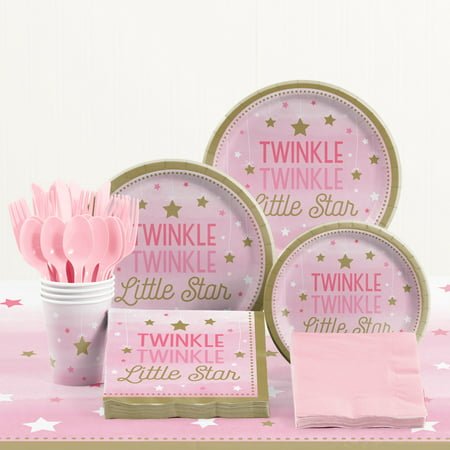 One Little Star Girl Birthday Party Supplies Kit - Little Girls Birthday Party