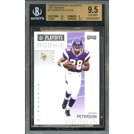 2006 playoff nfl playoffs 2007 preview #p2 ADRIAN PETERSON rookie card BGS 9.5