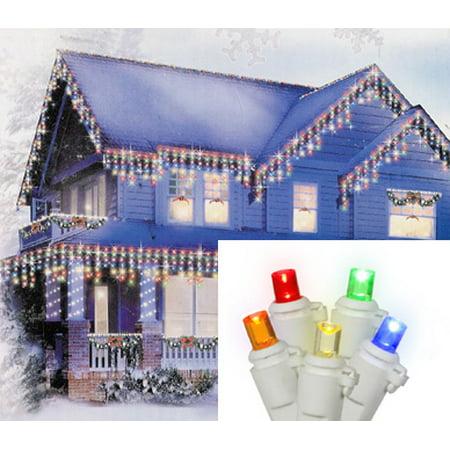 Set of 70 Multi-Color LED Wide Angle Icicle Christmas Lights - White (Multi Angle)