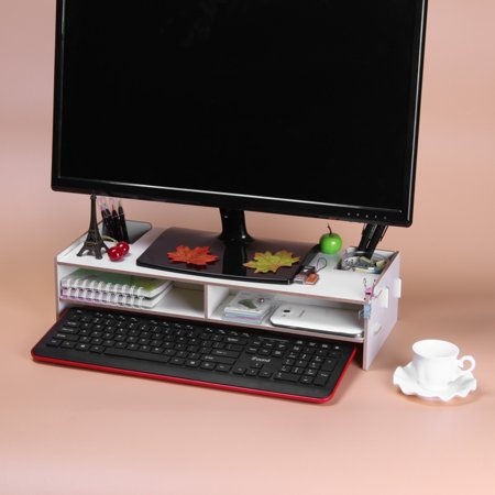Wooden Monitor Stand Riser Computer Desk Organizer with Storage Slots for Office Supplies School Teachers - image 3 of 5