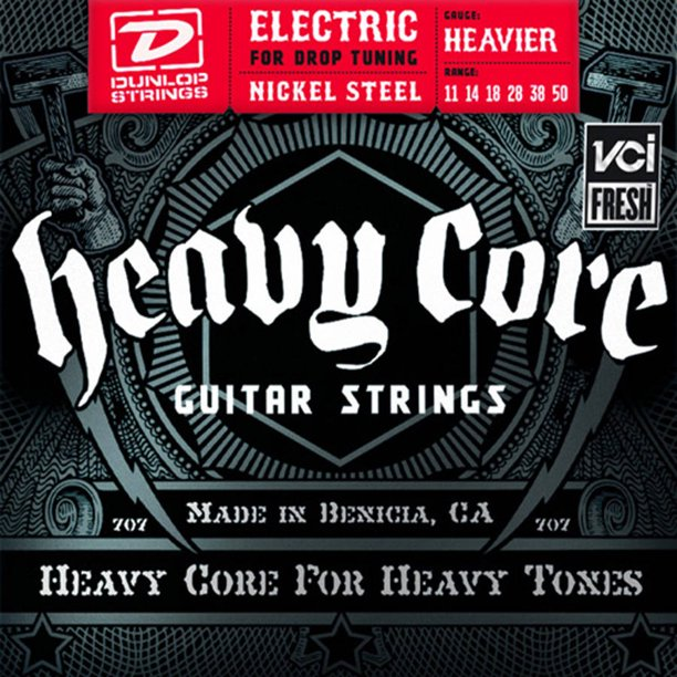 Dunlop DHCN1150 Heavy Core Nickel Steel Heavier NPS Electric Guitar 6-String Set, .011-.050