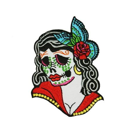Calavera Sugar Skull Girl Patch Day Dead Festival Embroidered Iron On Applique](Calavera Girl)
