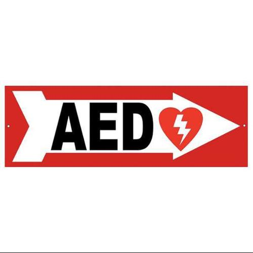 DEFIBTECH DAC-233 Safety Sign,AED,Right Arrow,4x12 In.