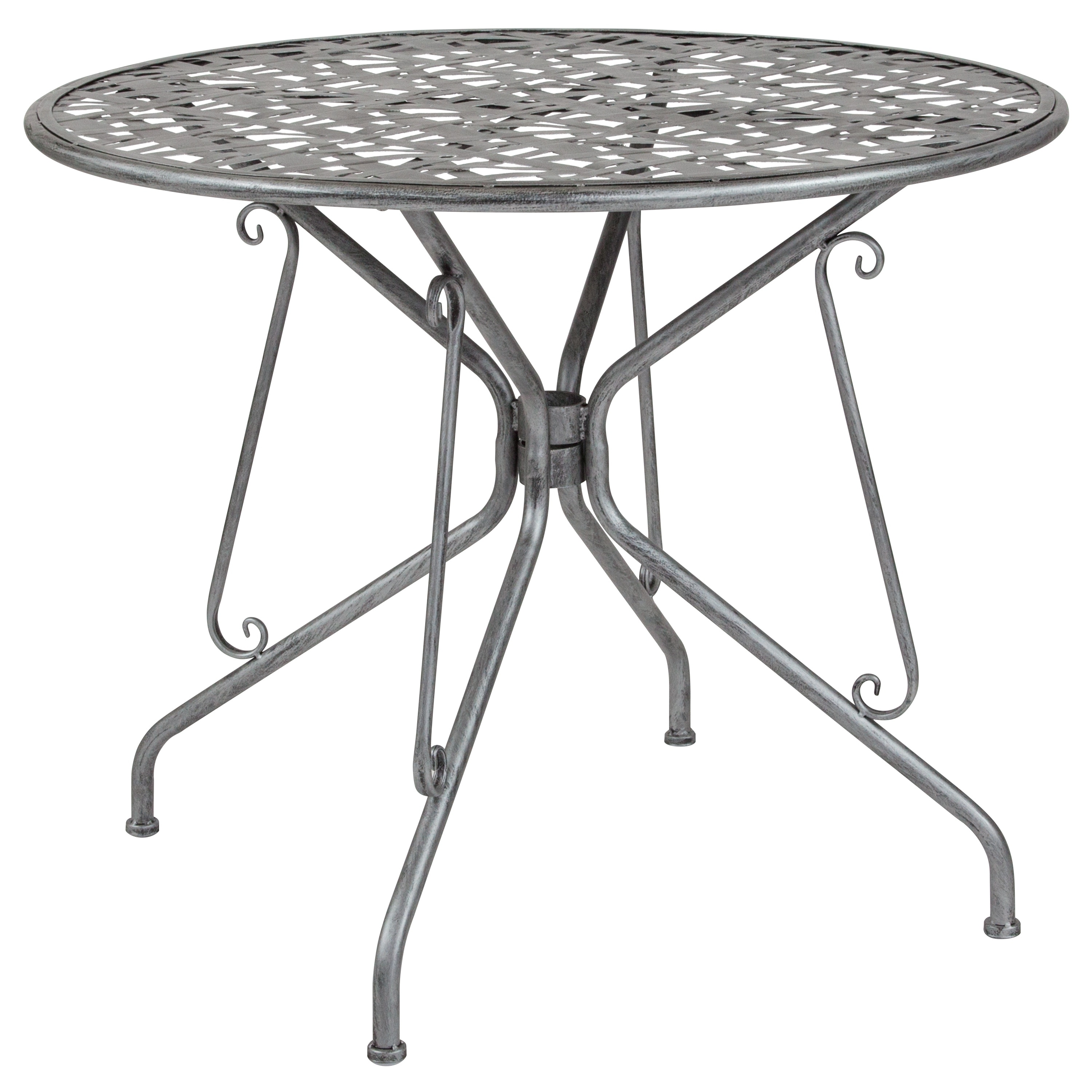"""Lancaster Home Agostina Series 35.25"""" Round Indoor-Outdoor Steel Patio Table"""