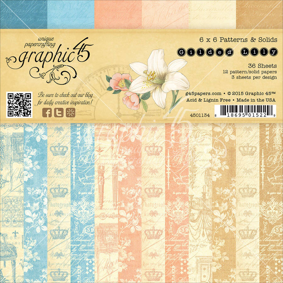 "Graphic 45 Double-Sided Paper Pad, 6"" x 6"", 36pk, Gilded Lily, 3 Each of 12 Prints and Solids"