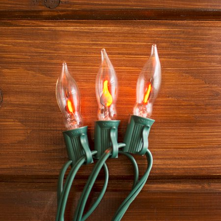 christmas lights string lights 10ft outdoor green wire c7 strand flickering flame