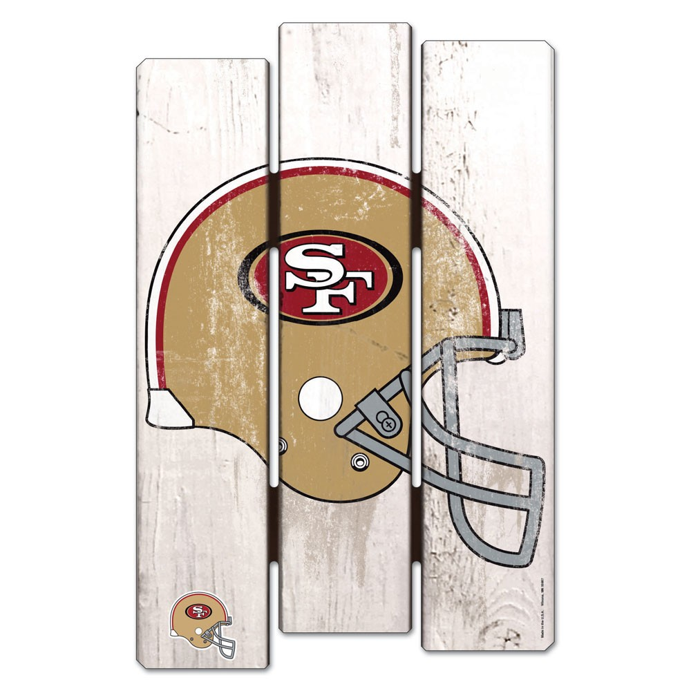 San Francisco 49ers Official NFL 11 inch  x 17 inch  Wood Fence Sign by Wincraft