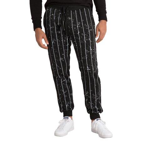 - Vibes Mens Black Fleece Jogger Pants Paint Pinstripe Print Rib Waist & Cuff