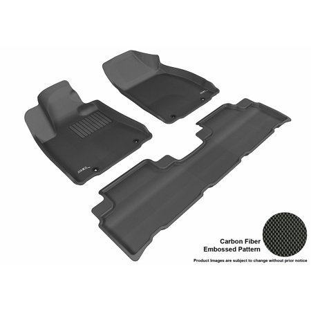3D Maxpider 2013 2015 Lexus Rx350 450H Front   Second Row Set All Weather Floor Liners In Black With Carbon Fiber Look