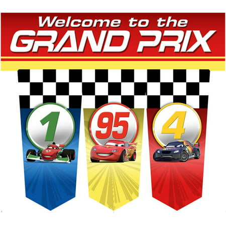 Cars 'Grand Prix Dream Party' Plastic Door Banner - Cars Banner
