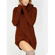 Women's Cowl Neck Loose Long Sleeve Oversize Sweater Jumper Shirt Tops Dress