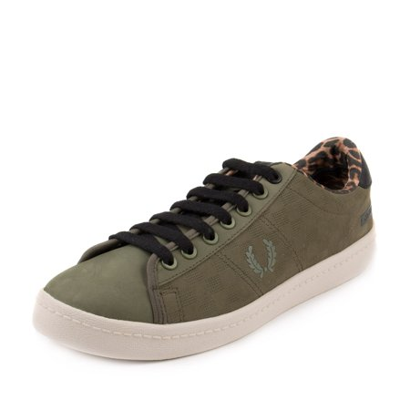 Fred Perry Mens Bodega ReIssue Tennis Shoe 2 Olive Green/Black-Leopard (Best Fred Perry Mens Sneakers)