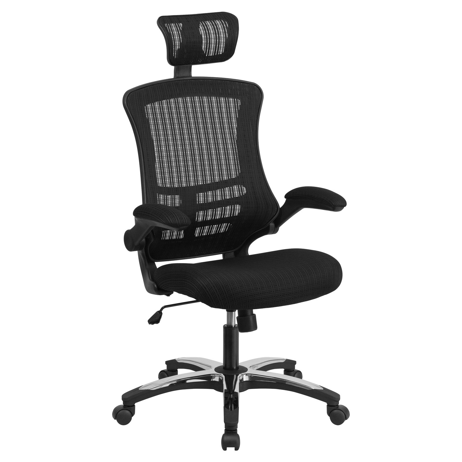 Flash Furniture High-Back Black Mesh Executive Swivel Office Chair with Flip-Up Arms and Chrome, Nylon Designer Base