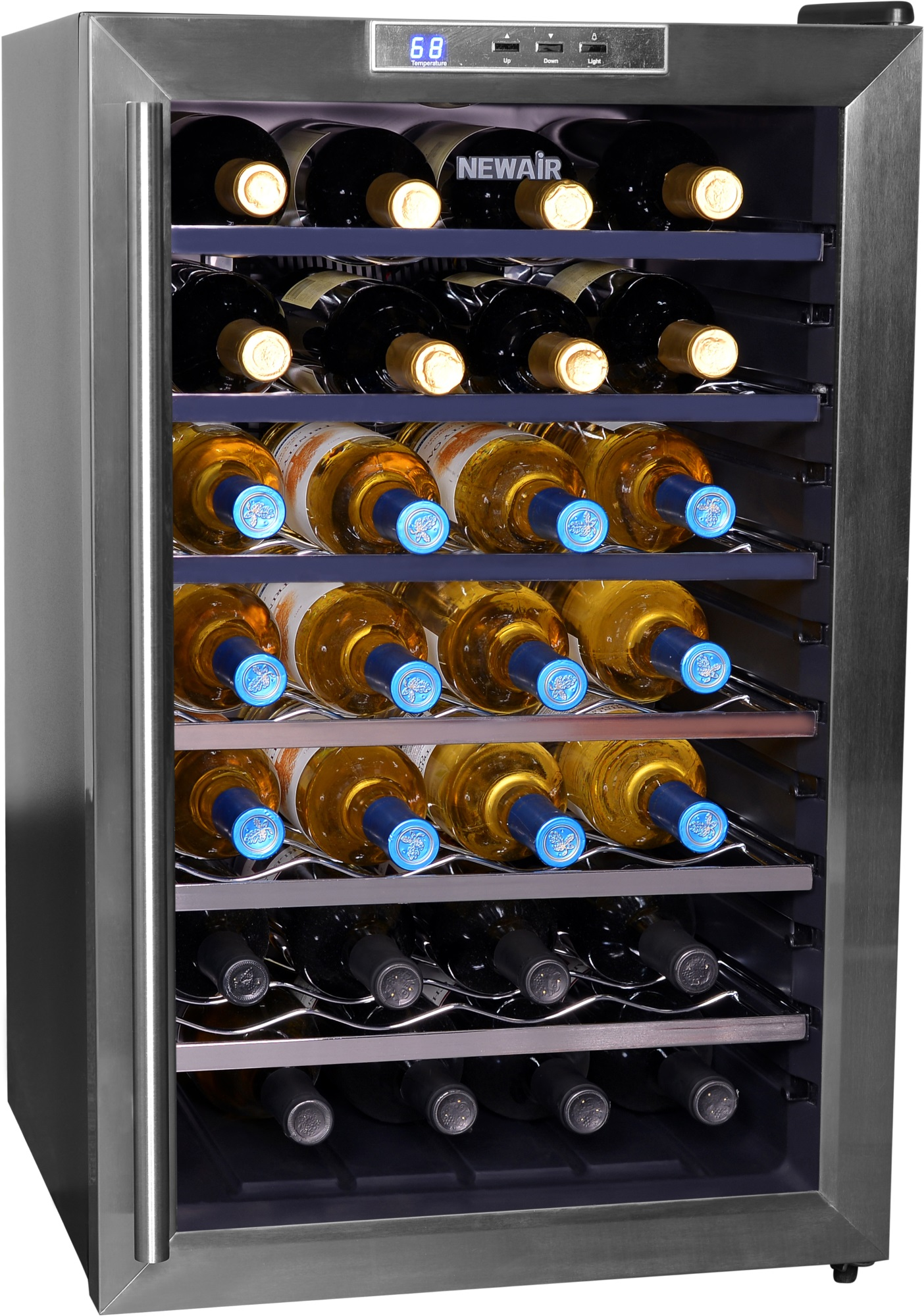 NewAir AW-281E 28-Bottle Thermoelectric Wine Refrigerator, Stainless Steel  and Black - Walmart.com