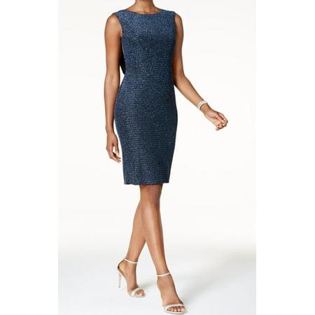 Jessica Howard NEW Blue Womens Size 14 Metallic Cowl-Back  Sheath Dress - Jessica Rabbit Dress Plus Size