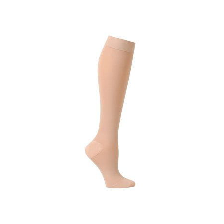 Support Plus Women's Firm Compression Hose -Opaque Knee High Wide Calf Stockings