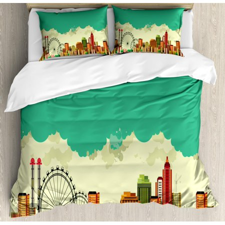 - Ferris Wheel Duvet Cover Set King Size, Vintage Panaromic View of a Metropolis Consisting Skyscrapers Greenery Circus, Decorative 3 Piece Bedding Set with 2 Pillow Shams, Multicolor, by Ambesonne
