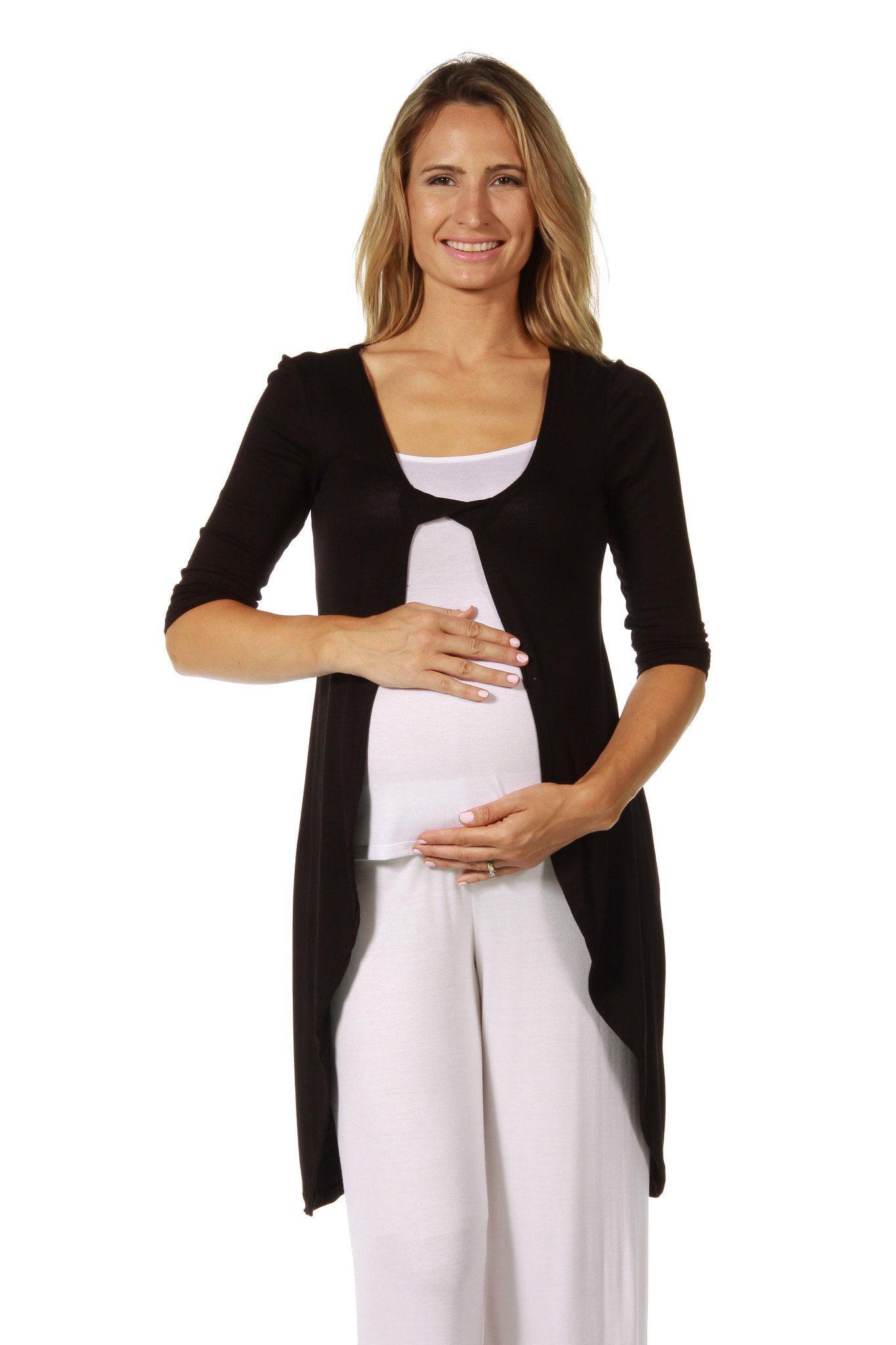 24seven Comfort Apparel Women's Maternity Front Twist Long Shrug