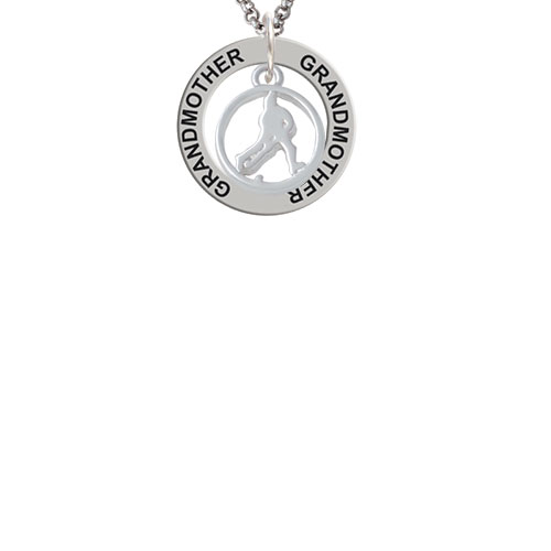 Field Hockey Player Silhouette in 1/2'' Disc Grandmother Affirmation Ring Necklace