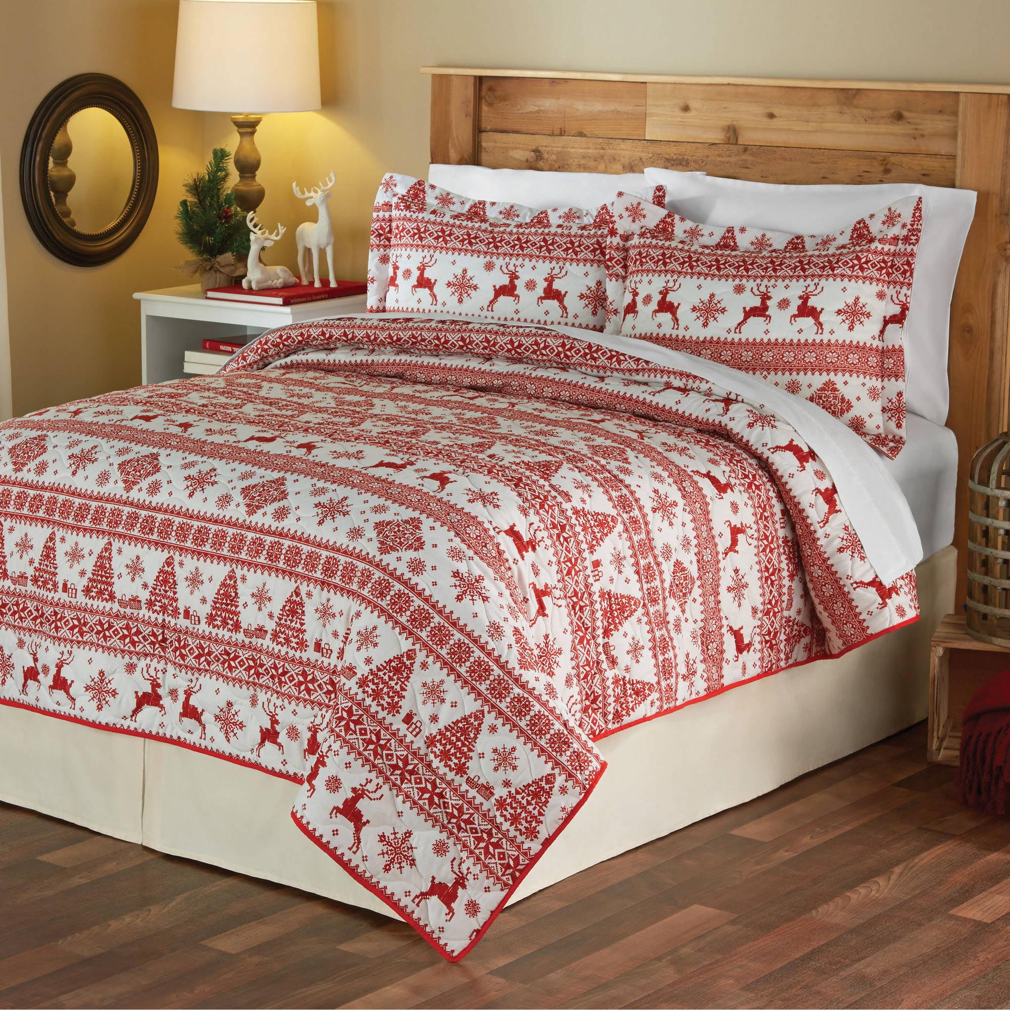Mainstays Christmas Sweater Holiday Quilt Set - Walmart.com : christmas quilt set queen - Adamdwight.com