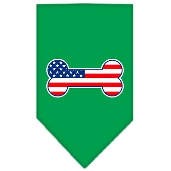 Bone Flag American Screen Print Bandana Emerald Green Small