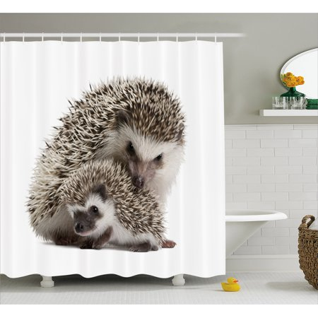 Hedgehog Shower Curtain, Atelerix Albiventris Photography with Mother and Children Love and Family Theme, Fabric Bathroom Set with Hooks, 69W X 75L Inches Long, Brown Ivory, by Ambesonne ()