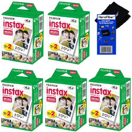 Fujifilm Instax Mini Twin Pack Instant Film   5 Pack  100 Sheets  For Fujifilm Instax Mini 7S  Mini 8  Mini 9  Mini 25  Mini 50S  Mini 90  Sp 1   Sp 2 Smartphone Printer   Herofiber Cleaning Cloth