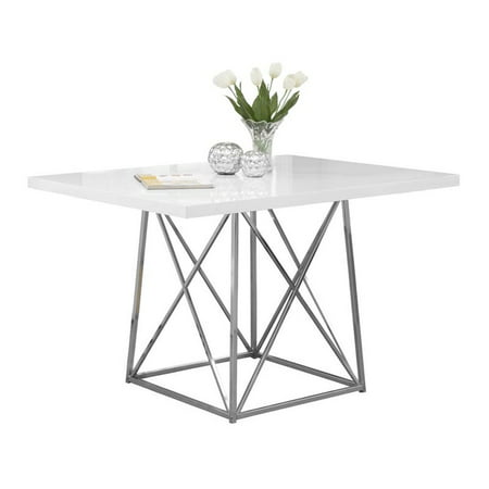 "Monarch Dining Table 36""X 48"" / White Glossy / Chrome Metal"