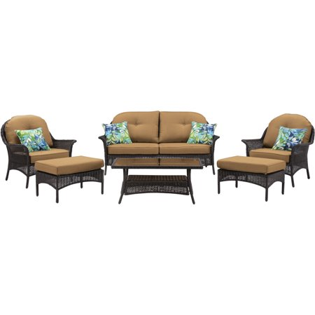 Hanover Sun Porch 6-Pc. Resin Lounge Set w/ Handwoven Loveseat, 2 Armchairs, 2 Ottomans, Coffee Table and Plush Country Cork Cushions ()