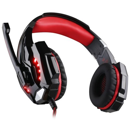 Newer Version Versiontech G9000 Led Surround Gaming Headphones Bass Stereo Headset With Mic For Ps4 Games  Mac Pc Computer Laptop Cell Phone Compatible  Black And Red