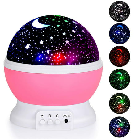 Coolmade Kids Night Light, Moon Star Night Light Rotating Star Projector, Baby Night Light, Night Lighting Lamp 4 LED 8 Modes with USB Cable, Best for Bedroom Nursery Kids Baby Children Birthday (The Best Lcd Projector)