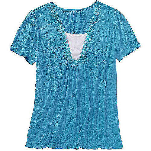 Faded Glory Womens Plus-Size Crinkle 2fer Top