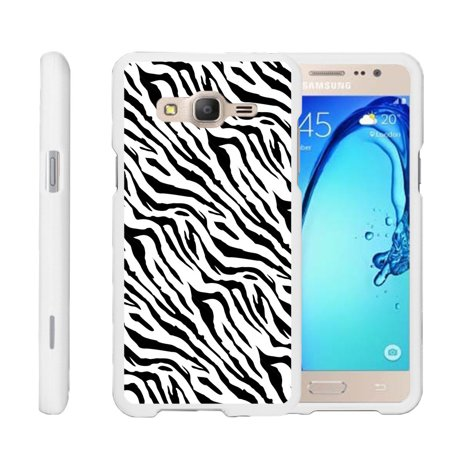 Samsung Galaxy On5 G550, [SNAP SHELL][White] 2 Piece Snap On Rubberized Hard White Plastic Cell Phone Case with Exclusive Art - Zebra Pattern ()
