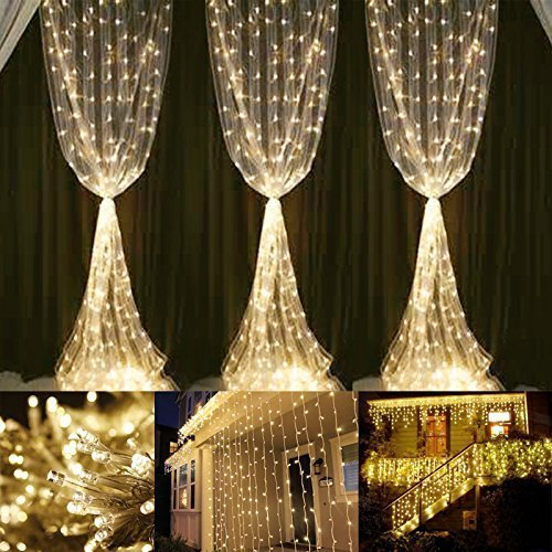 Curtain Decoration Lights 306 LED Fairy Waterproof Safe Low Voltage DC 18 Strands 17LED 9.8ft Home Decoration Curtain... by Qedertek