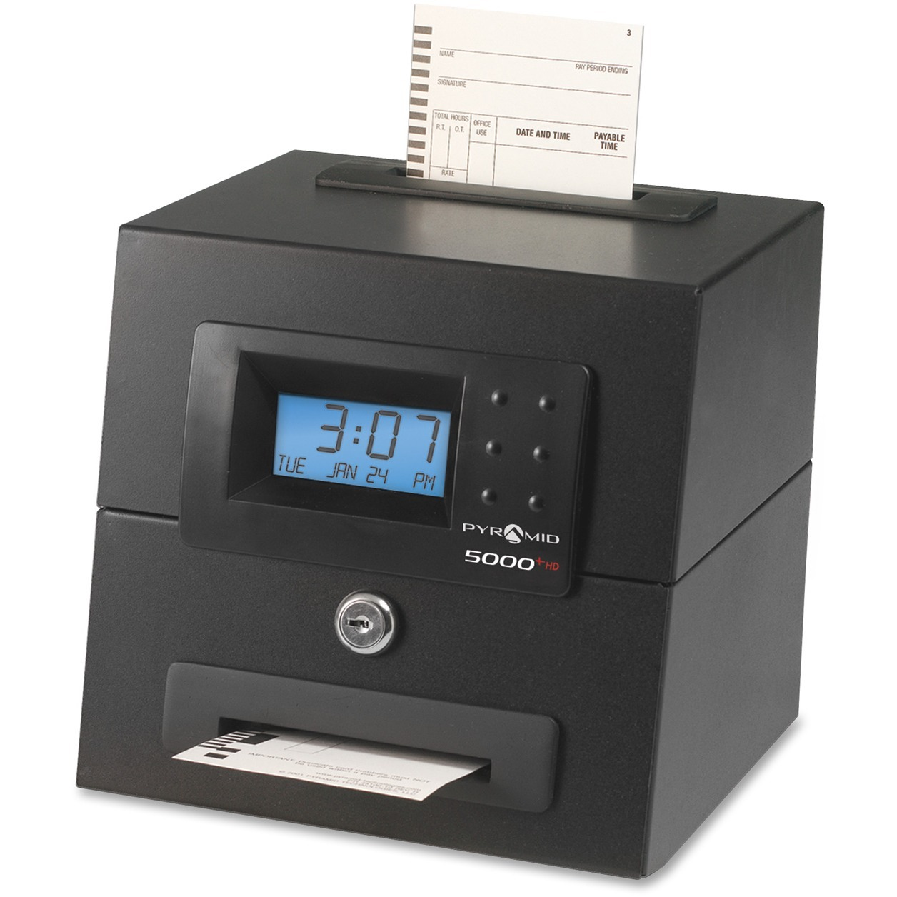 Pyramid Time Systems, PTI5000HD, 5000 Heavy Duty Auto Totaling Time Clock, 1 Each, Black by Pyramid Time Systems
