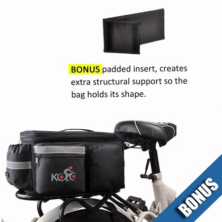Bike Pannier Bag By Kolo Sports | Durable & Waterproof Nylon With Extra Padded Foam Bottom & 3 Side Reflectors | Shoulder Strap Rack Rear Trunk Tote Bag | Strong Velcro, Zipper Pockets & Bottle Case