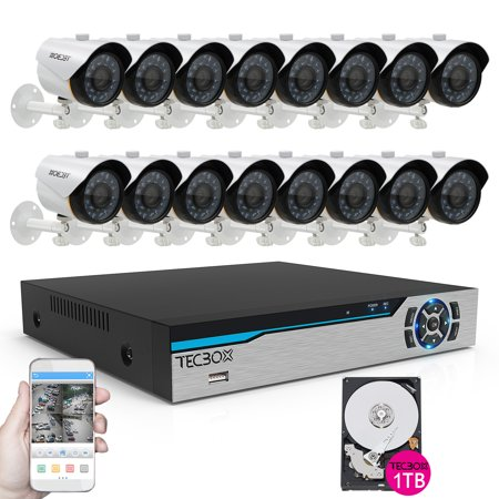 TECBOX 16 Channel Camera System Dvr 1TB Hard Drive with 16 720p HD Smart Security Cameras with Recording Remote Viewing Outdoor Home Security Camera