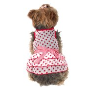 Cute Polka Dot Chiffon Layered Spring and Summer Pets Puppy Teddy Dogs Dress, 2 Extra Small Red (Gift for Pet)