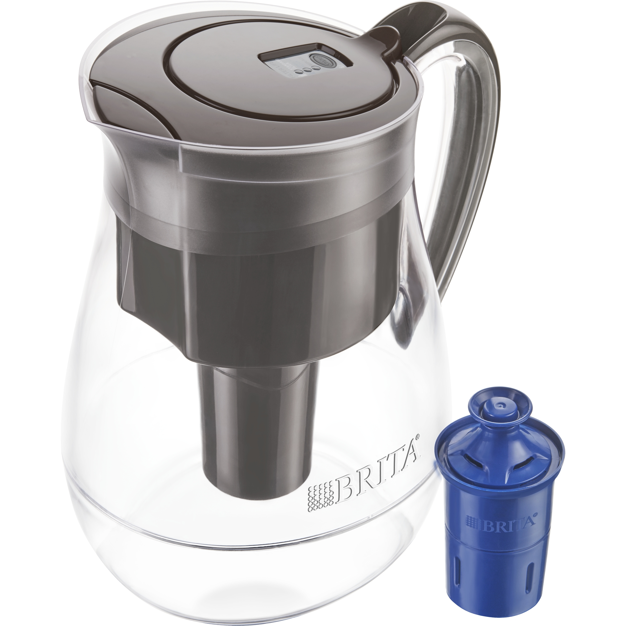 Brita Monterey Water Pitcher with 1 Longlast Filter - BPA Free - Black Coffee - 10 Cup
