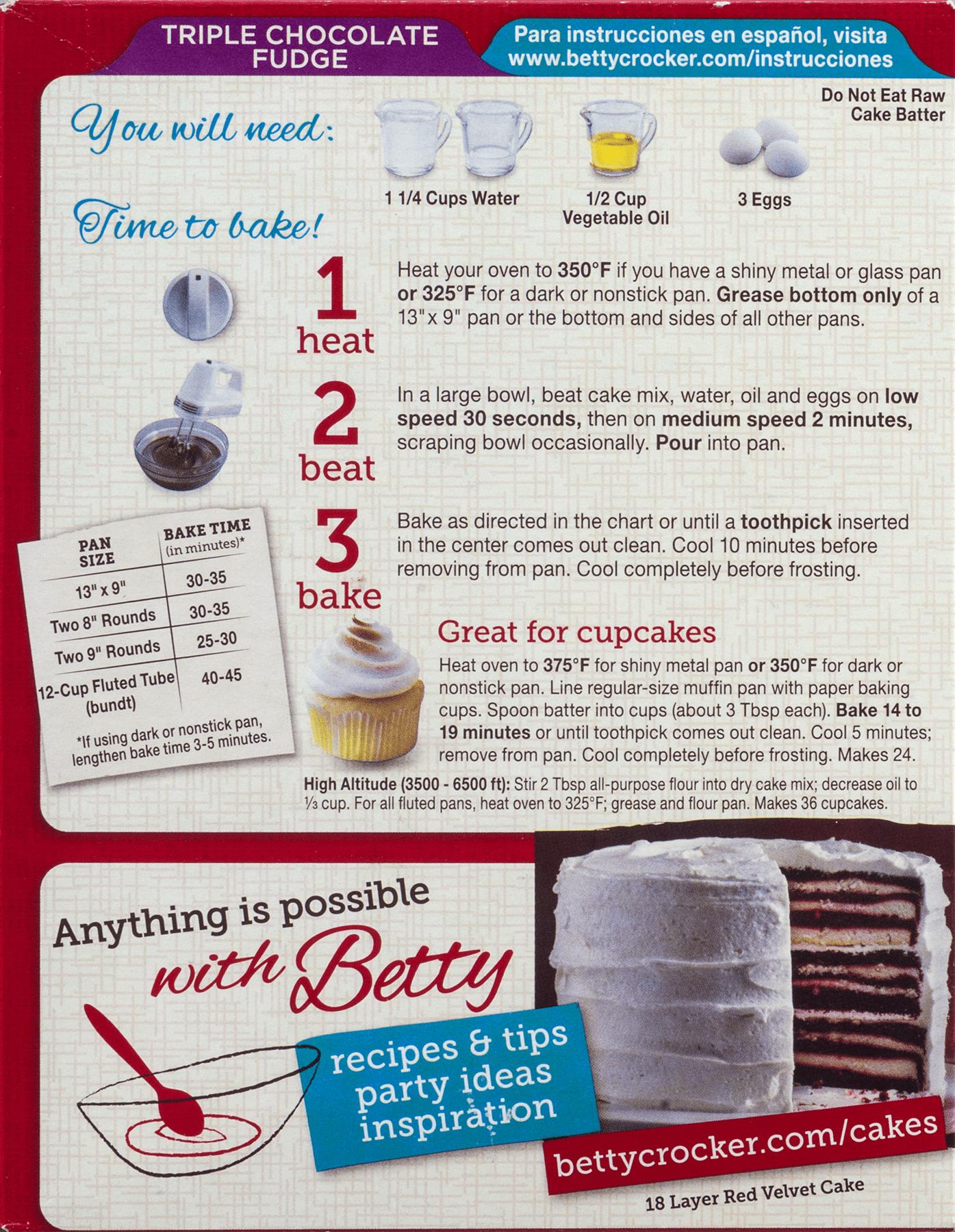 Betty Crocker Chocolate Cake Mix Instructions