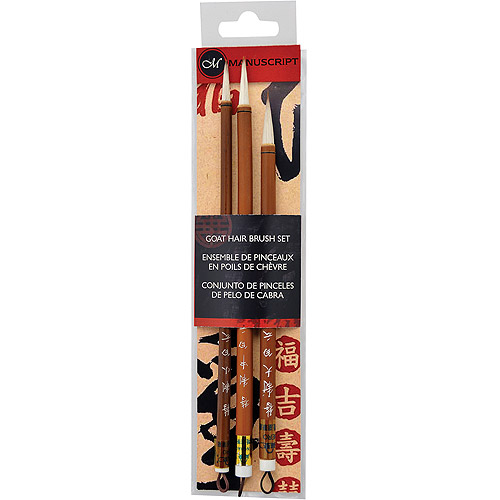 Manuscript Goat Hair Calligraphy Brush Set, 3pk